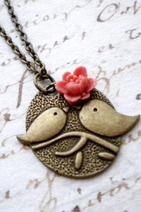 Bird Pendant Flower Necklace Bird Necklace Bird Charm
