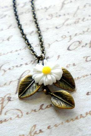 Leaf Necklace Sunflower Necklace White Necklace Sunflower Jewelry Bridesmaid Necklace