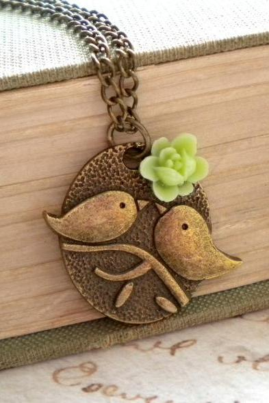 Bird Necklace Green Necklace Flower Necklace Bird Pendant Kissing Couple Pendant