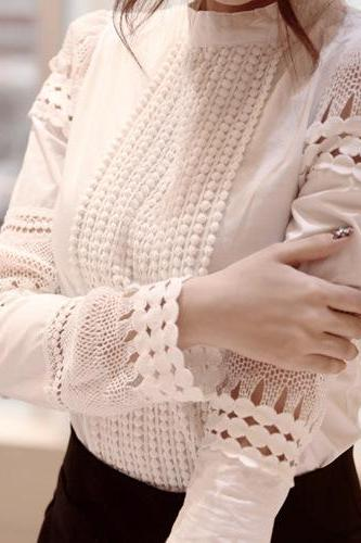 Hollow Long-Sleeved White Shirt Blouse