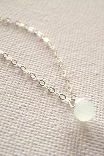 Sterling silver necklace with tiny pale mint green glass droplet pendant - Sea Dew