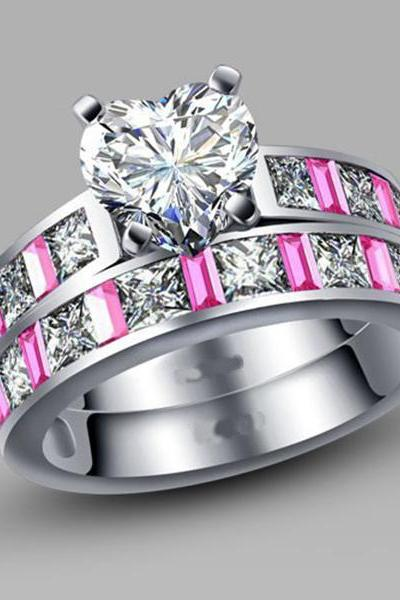 Affordable Pink and White Cubic Zirconia Features Heart Promise/Wedding Ring for Women