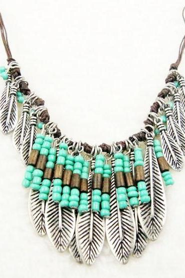 Boho Gypsy Turkish Ethnic Style Vintage Silver Resin Leaf Fringe Bib Necklace
