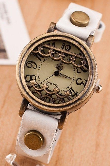 Vintage unique antique fashion white woman watch
