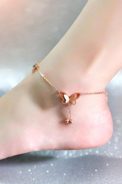 Girl's Rose Gold Butterfly Anklet for Summer