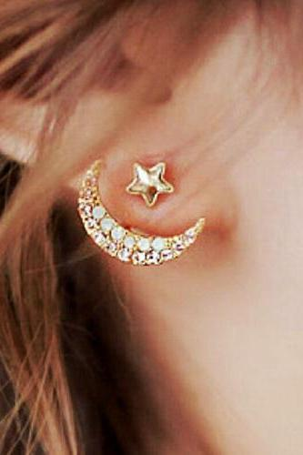 Bling Bling Moon and Stars Stud Earrings for Girls-Attractive Nightclub Accessories Ideas