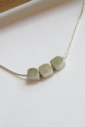 Sterling Silver Necklace with Small Cubes - Delicate Necklace Pendant
