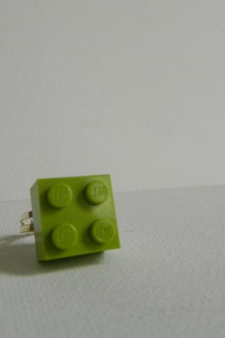 Lime Green Square Lego Ring