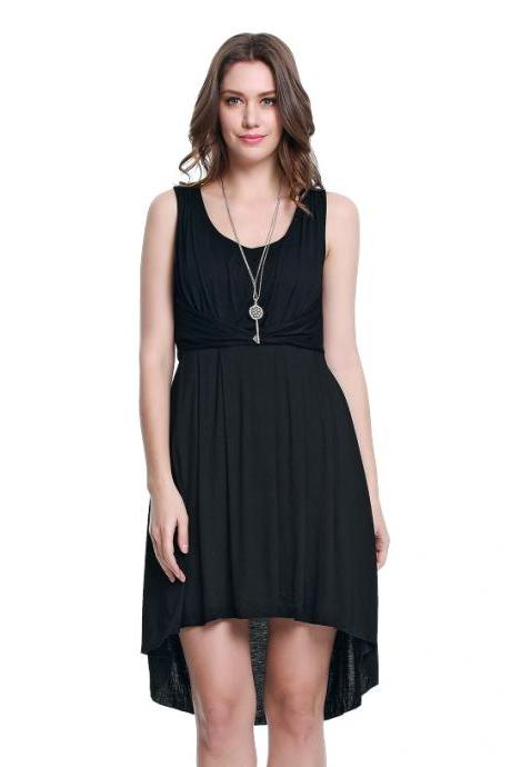 Ladies' Sleeveless And Backless Lace Sweet Black Dress