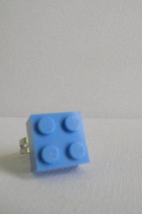Light Blue Square Lego Ring