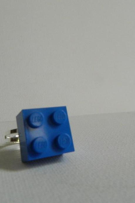 Blue Square Lego Ring