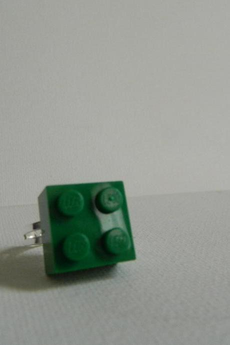 Dark Green Square Lego Ring