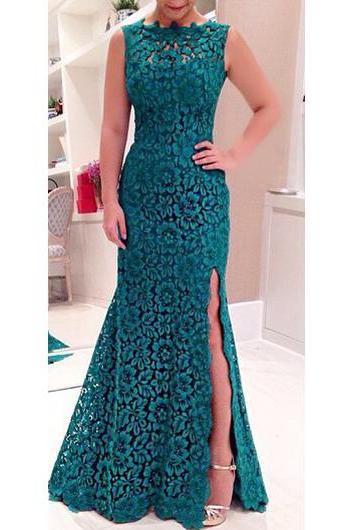 Sexy Open Back Side Slit Green Lace Maxi Dress
