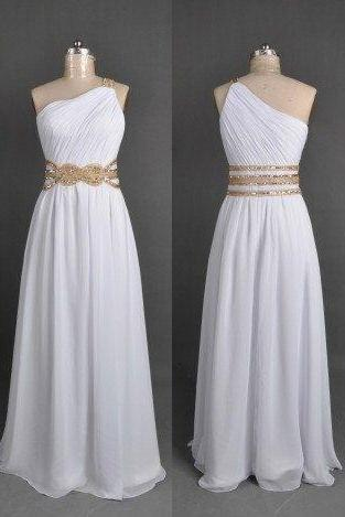Pretty White One Shoulder Chiffon Prom Dresses 2016, White Prom Gowns, Evening Gowns, Formal Gowns, Party Dresses