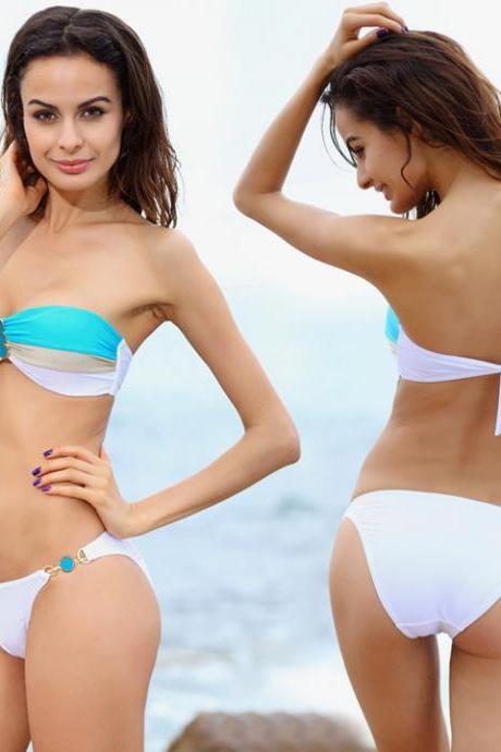 Stitching Golden Chain Swimwear Bikini