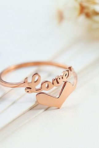 Rose Gold Love & Heart Ring