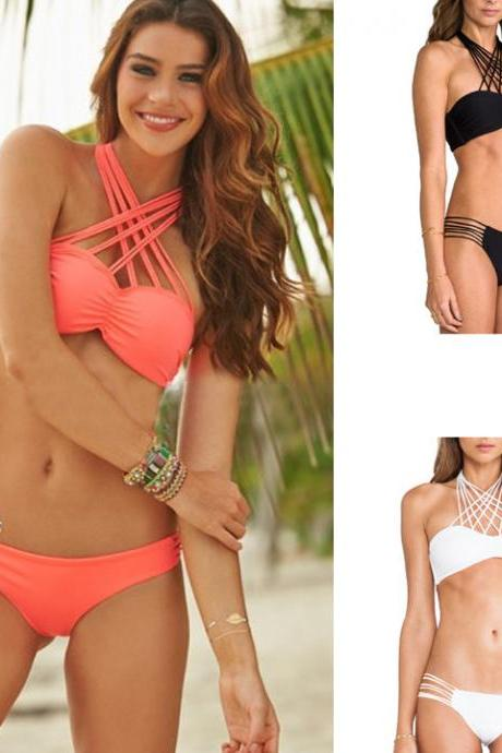 Summer Women Sexy Bandage Straps Halter Bikini Set Padded Push-up Bra Tops Swimsuit Bathing Suit Swimwear Beachwear