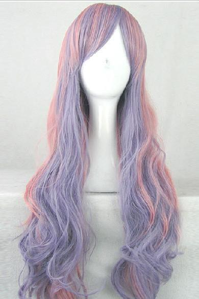 31 'long Harajuku Style Pink & Purple Wig Wavy Curly Full Hair Cosplay Wig