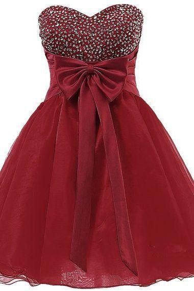 Burgundy Short Organza Homecoming Dress Featuring Sequins Sweetheart Bodice with Bow Accent