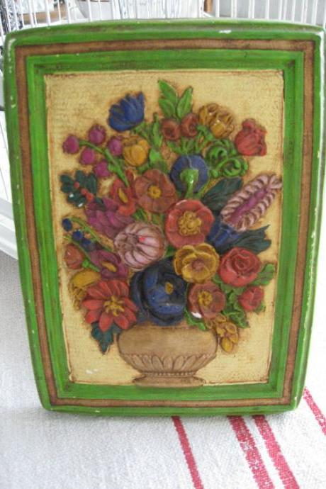Chalkware Wall Plaque Basket of Posies Vintage Hanging Art