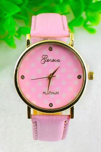 2016 Pink Polka Dot Leather Bracelet Vintage Retro Woman Unisex Watch