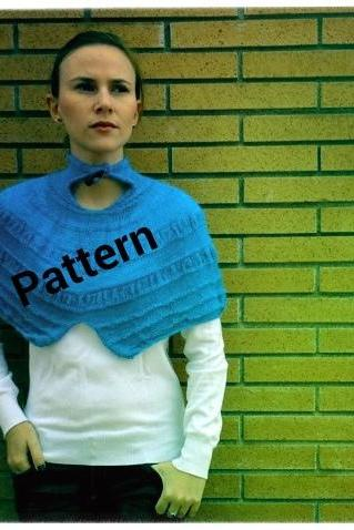 Knitted Vintage Blue Cowl Pattern - Knitting tutorial PDF