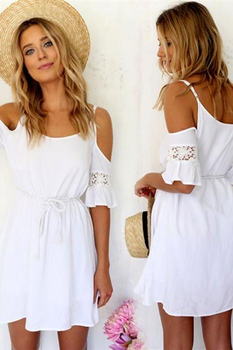 Lace Off-shoulder Loose Mini Dress