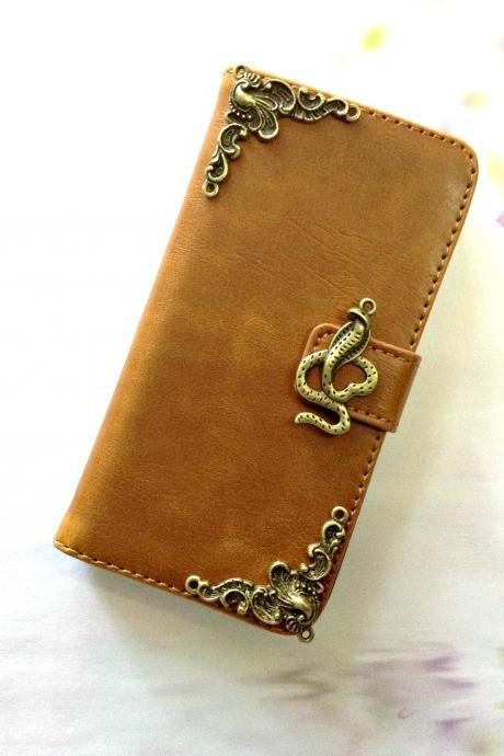 Snake iphone 6 4.7 leather wallet case, Vintage iphone 6 plus leather wallet case, iphone 5c, 5, 5s leather wallet case, samsung galaxy S3, S4, S5, S6, S6 Edge, Note 3, Note 4, Note 4 Edge leather wallet case, item no.136