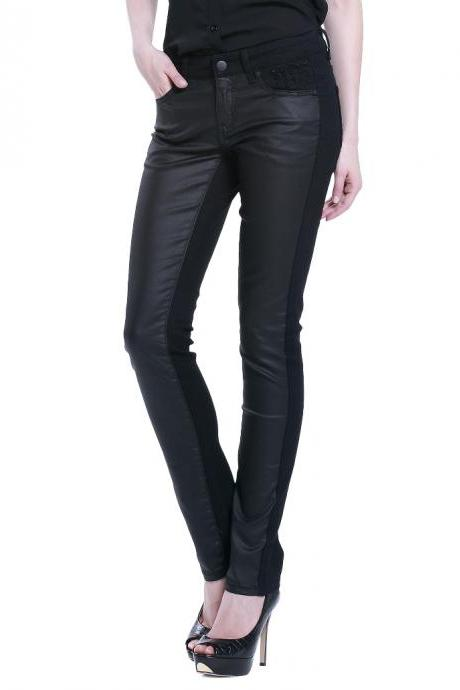 Punk Style Pu Splicing Casual Pants
