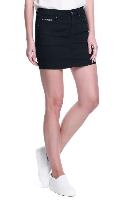 Black Mini Skirt with Little Rivet Detailing