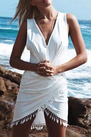 Solid Fringe Embellished V Neck Dress - White