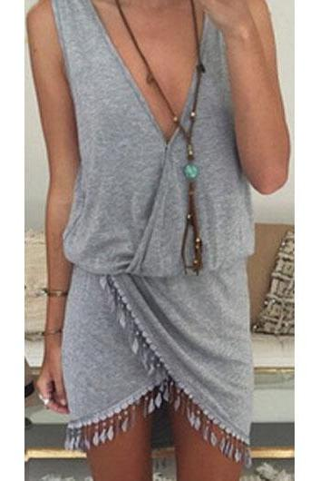 Solid Fringe Embellished V Neck Dress - Grey