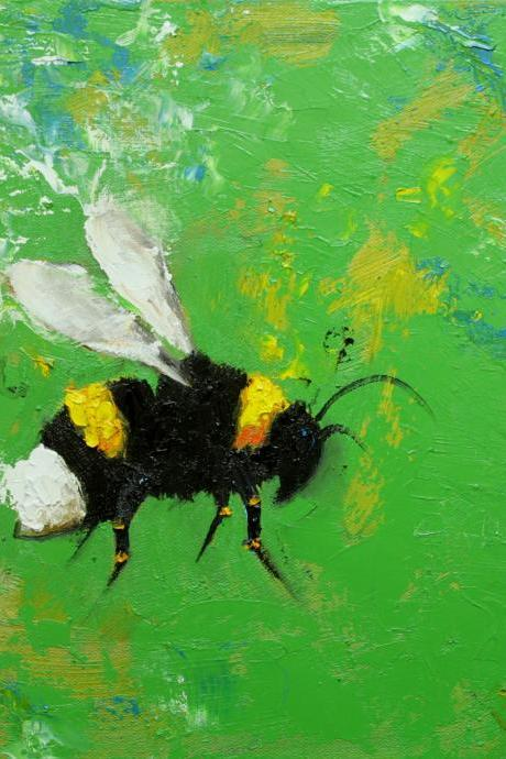 Bee painting 247 12x12' original oil painting by Roz