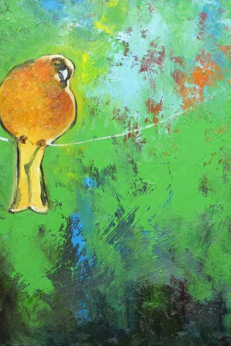 Bird on a wire 77 20x20' original oil painting by Roz
