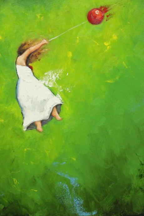 Leap 374 20x20' original oil painting leaping girl with balloon by Roz