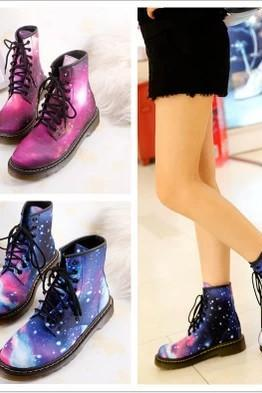 Harajuku Fashion Psychedelic Leather Martin Short Boots