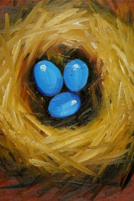 Nest 240 12x12' original oil painting nest with eggs by Roz
