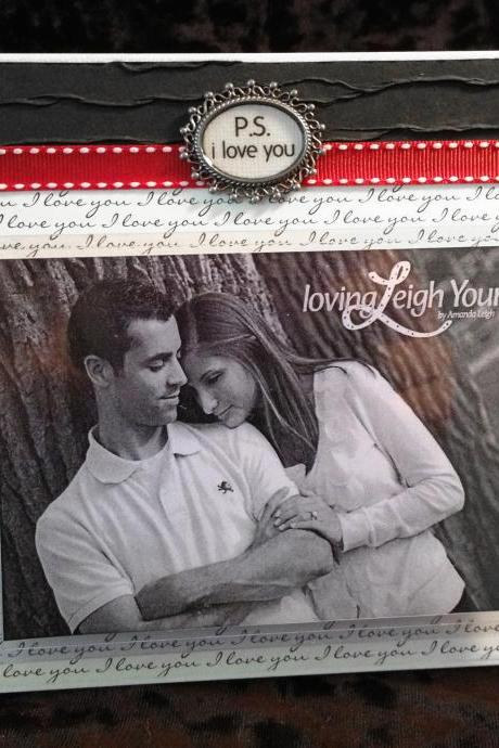 P.S. I LOVE YOU Frame - 6x6 Base with 3.5x5 Horizontal Photo - Wall or Tabletop Decor