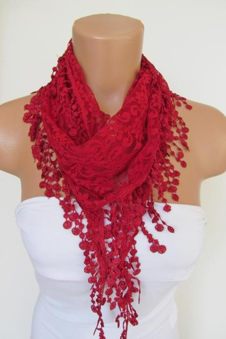Red Long Scarf With Fringe-Winter Fashion Scarf-Headband-Necklace- Infinity Scarf- Winter Accessory-Long Scarf