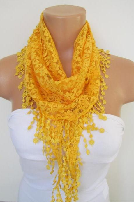 Yellow Long Scarf With Fringe-Winter Fashion Scarf-Headband-Necklace- Infinity Scarf- Winter Accessory-Long Scarf