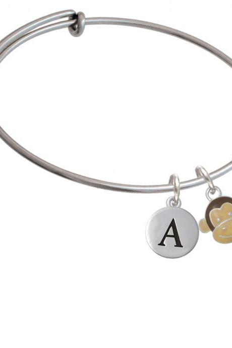 Enamel Monkey Face Initial Charm Expandable Bangle Bracelet BR-C4616-PebbleInitial-F2084