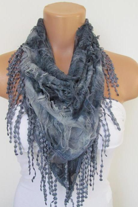 Gray Scarf with fringe -Triangle Shawl Scarf-Spring Fashion-Lace Scarf- Neckwarmer- Infinity Scarf-Mother's Day Gift