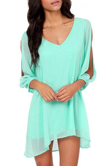 Stylish Lady Women V-Neck Split Long Sleeve Chiffon Casual Loose Above Knee Dress