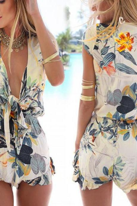 2016 Newest!! Women Sexy Fashion Flouncing Romper Straps Print Overall Jumpsuit