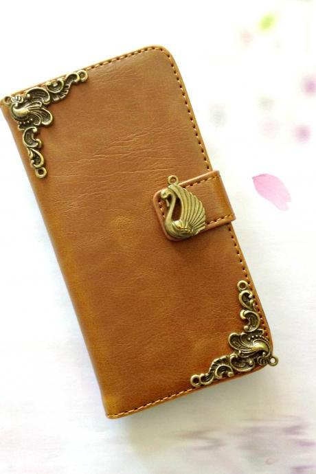 Swan iphone 6 6s 4.7 leather wallet case, Vintage iphone 6 6s plus leather wallet case, iphone SE, 5c, 5, 5s leather wallet case, samsung galaxy S4, S5, S6, S6 Edge, S7, S7 Edge, Note 3, Note 4, Note 4 Edge, Note 5, leather wallet case, item no.266