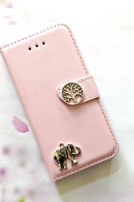 Elephant iphone 6 6s 4.7 leather wallet case, Vintage iphone 6 6s plus leather wallet case, iphone SE, 5c, 5, 5s leather wallet case, samsung galaxy S4, S5, S6, S6 Edge, S7, S7 Edge, Note 3, Note 4, Note 4 Edge, Note 5, leather wallet case, pink leather wallet case, item no.21