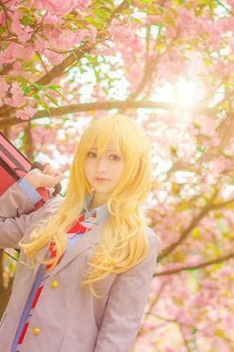 Your Lie In April smoked golden palace garden level micro long Cosplay hair wig