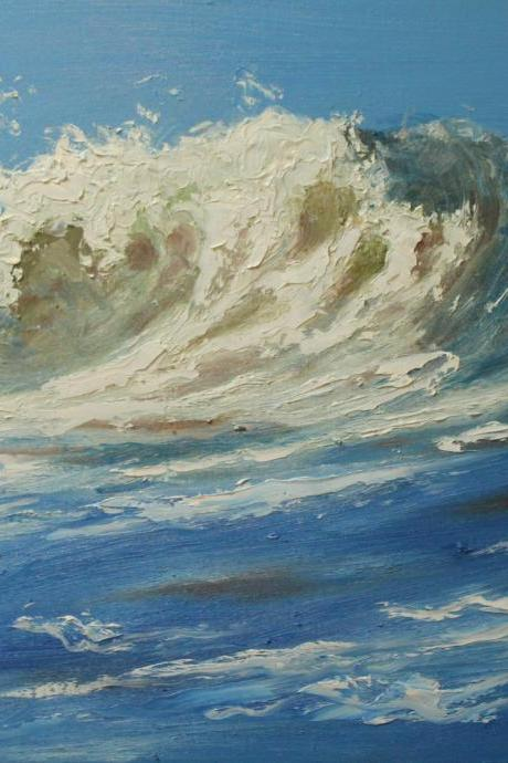 Wave oil painting 24 - 18x24' original oil painting impressionism by Roz