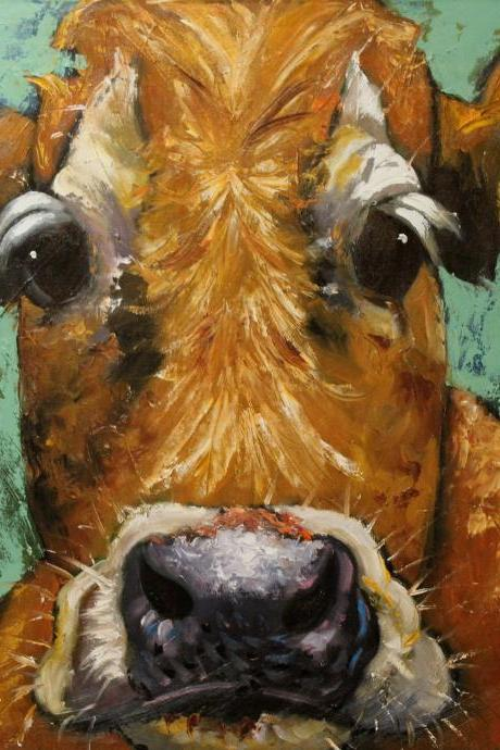 Cow painting #515 - 30x30' original oil painting by Roz