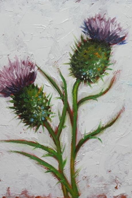 Floral 174 12x12' thistles original oil painting by Roz